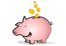 Piggy Bank Coins. Coins fall into a happy piggy bank Stock Photography