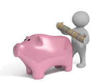 Piggy bank coins Stock Images