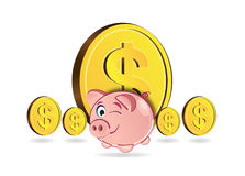 Piggy bank and coins. Over white Royalty Free Stock Images