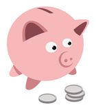 Piggy bank coins Stock Photo