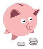 Piggy bank coins. Cartoon illustration of a piggy bank & coins Stock Photo