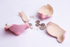 Piggy bank with coins Royalty Free Stock Photography