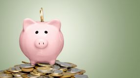 Piggy bank and coins on  background. Bank pig coins piggy background money small Royalty Free Stock Photos