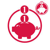 Piggy bank, coins cash money savings theme vector simple single Royalty Free Stock Image