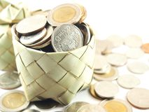 Piggy bank, coins collection, save money Stock Image