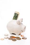 Piggy bank with coins and the dollar bill Royalty Free Stock Photos