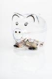 Piggy bank, coins and euro bills. Money saving concept. Banknotes closeup Royalty Free Stock Photo