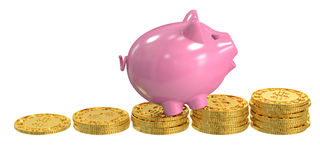 Piggy bank and coins, financial success concept, 3D rendering. Piggy bank and coins, financial success concept Stock Photography