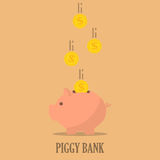 Piggy bank with coins in a flat design. The concept of saving or save money or open a bank deposit stock illustration