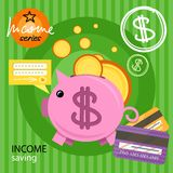 Piggy bank with coins income series Royalty Free Stock Photos