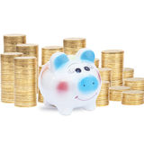 Piggy Bank and Coins. On isolate stock image