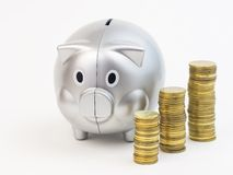 Piggy bank with coins isolated on a white background Stock Photos