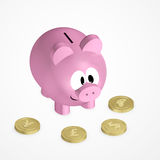 Piggy bank with coins over bright background Stock Photo