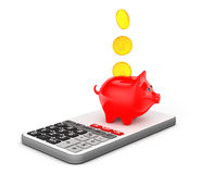 Piggy Bank with Coins over Calculator. 3d Rendering Stock Photo