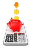 Piggy Bank with Coins over Calculator. 3d Rendering Royalty Free Stock Image