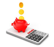 Piggy Bank with Coins over Calculator. 3d Rendering Stock Images