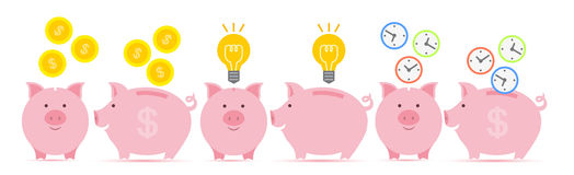 Piggy bank with coins. Pink piggy bank with falling golden coins, idea and time in two perspectives Stock Photography