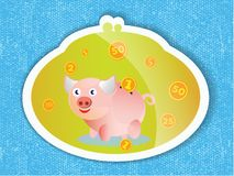 Piggy bank with coins and a pink piglet on blue background. Piggy bank with coins and a pink piglet on a blue background. Illustration Stock Photos