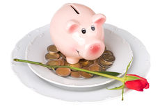 Piggy bank with coins on a plate Royalty Free Stock Photography