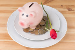 Piggy bank with coins on a plate Stock Image