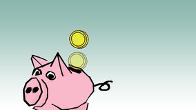 Piggy bank with coins. Saving or accumulation of money, investment stock video footage