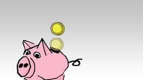 Piggy bank with coins. Saving or accumulation of money, investment stock footage