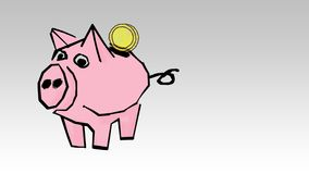 Piggy bank with coins. Saving or accumulation of money, investment stock video