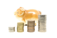 Piggy bank and coins stack Royalty Free Stock Photography