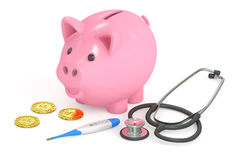 Piggy bank with coins, stethoscope and thermometer, 3D rendering Royalty Free Stock Photo