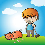 Piggy Bank and Coins. Vector Illustration Royalty Free Stock Photos