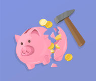 Piggy Bank and Coins Vector Illustration Royalty Free Stock Image