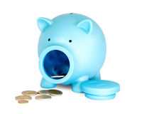 Piggy bank with coins on white isolated background Royalty Free Stock Photo