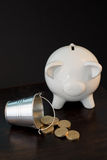 Piggy bank and coins. White piggy bank isolated on black background with coins Stock Photo