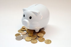 Piggy bank with coins Royalty Free Stock Photos
