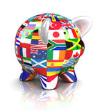 Piggy Bank - Collection of flags Stock Photo