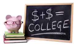 Piggy Bank with college formula Royalty Free Stock Images