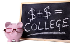 Piggy Bank with college formula Stock Image