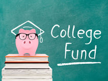 Piggy bank and college fund message Stock Images