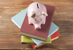 Pink Piggy bank with books on wooden background. Concept of funding education