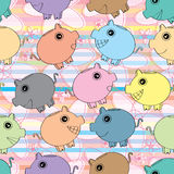 Piggy Bank Colorful Field Seamless Pattern_eps Stock Images