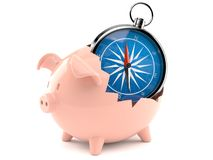Piggy bank with compass. Isolated on white background Royalty Free Stock Images