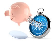 Piggy bank with compass. On white background Stock Photos