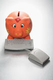 Piggy Bank and Computer Keyboard. On Seamless Background royalty free stock photography