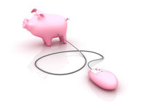 Piggy Bank with Computer Mouse Royalty Free Stock Photo
