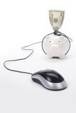 Piggy Bank and computer mouse Royalty Free Stock Photos