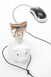 Piggy Bank and computer mouse Stock Images