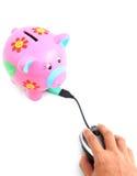 Piggy Bank and Computer Mouse Stock Photos