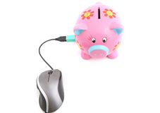 Piggy Bank and Computer Mouse Royalty Free Stock Images