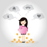 Piggy bank Concept. Business woman planning to save money for good future, money, home, car, and love Royalty Free Stock Images