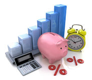 Piggy Bank Concept. The calculation of interest on deposits Stock Photography